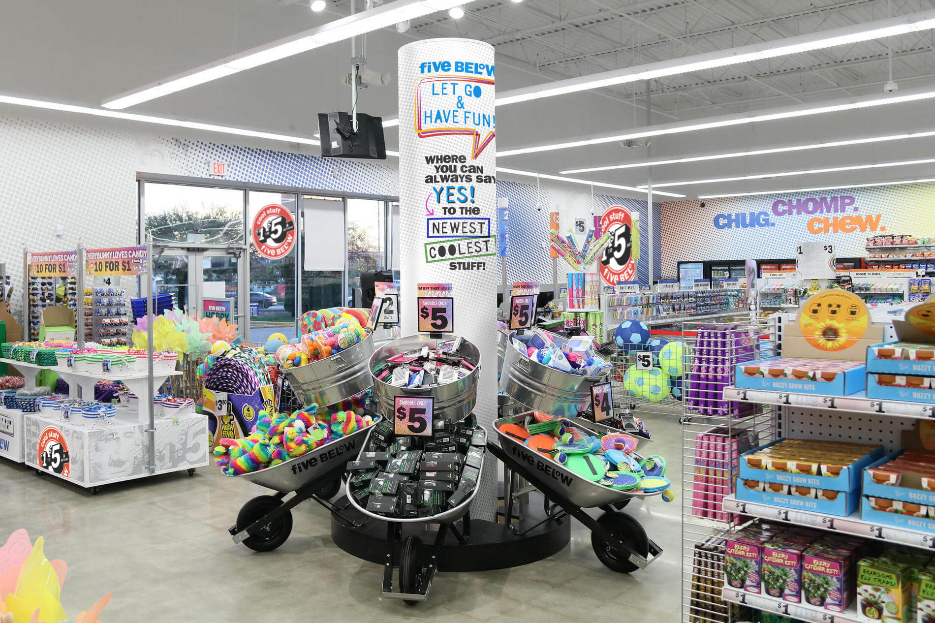 Image shows inside of a five below store.
