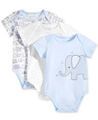 Image of First Impressions Baby Boys 3-Pk. Elephant Bodysuits, Created for Macy's