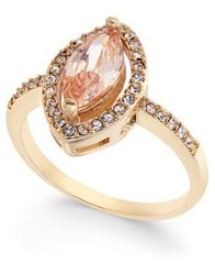 Image of Charter Club Gold-Tone Pavé & Pink Stone Ring, Created for Macy's