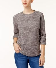 Image of Karen Scott Microfleece Spacedye Crew-Neck Sweatshirt, Created for Macy's