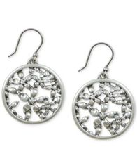 Image of Lucky Brand Silver-Tone Flower Openwork Coin Drop Earrings