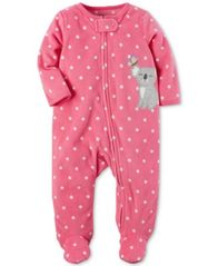 Image of Carter's 1-Pc. Dot-Print Koala Footed Fleece Coverall, Baby Girls (0-24 months)