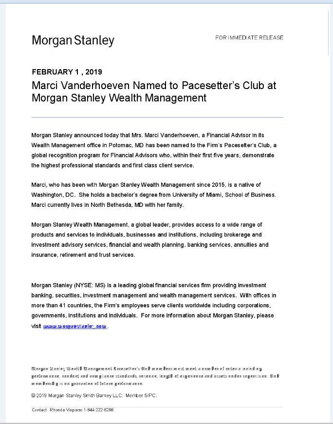 Marci Lynn Vanderhoeven | Potomac, MD | Morgan Stanley Wealth Management