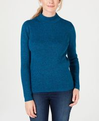 Image of Karen Scott Cotton Ribbed Mock-Neck Sweater, Created for Macy's