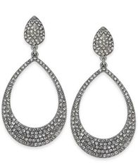 "Image of I.N.C. Large 1.8"" Silver-Tone Pavé Drop Hoop Earrings, Created for Macy's"