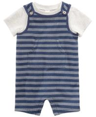 Image of First Impressions 2-Pc. T-Shirt & Herringbone Overall Set, Baby Boys, Created for Macy's