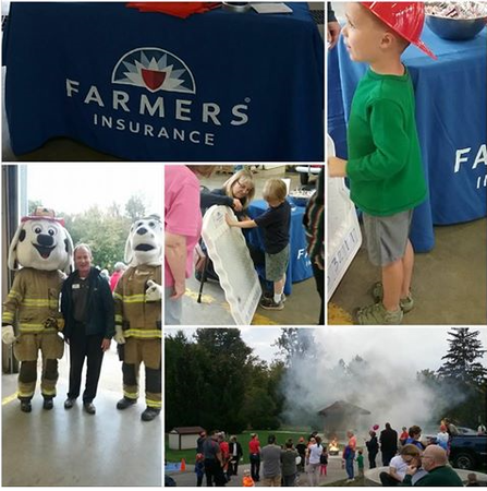Greg with Fire safety dogs, Demonstrations on putting out fires