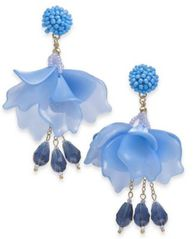 Image of I.N.C. Gold-Tone Bead & Petal Drop Earrings, Created for Macy's