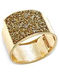Image of INC International Concepts Gold-Tone Glittery Wide Hinged Bangle Bracelet, Created for Macy's
