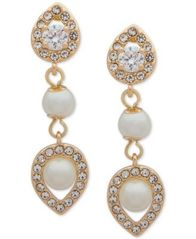 Image of Anne Klein Crystal and Imitation Pearl Drop Earrings