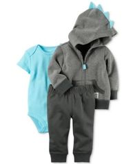 Image of Carter's 3-Pc. Cotton Dinosaur Hoodie, Bodysuit & Pants Set, Baby Boys (0-24 months)