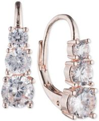 Image of Anne Klein Graduated Vertical Crystal Hoop Earrings