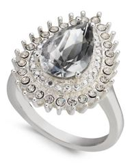 Image of Charter Club Silver-Tone Crystal Teardrop Ring, Created for Macy's