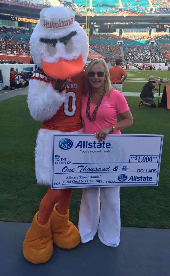 Ann-Marie Batten - Allstate Kick Promotion at the Miami Hurricanes Game!