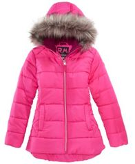 Image of RM 1958 Big Girls Ashlyn Hooded Jacket with Faux-Fur Trim