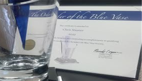 Chris Stauner was awarded the Order of the Blue Vase in 2012