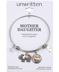 Image of Unwritten Double Elephant Crystal Charms Adjustable Bangle Bracelet in Two-Tone Stainless Steel
