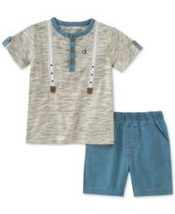 Image of Calvin Klein 2-Pc. Henley T-Shirt & Shorts Set, Baby Boys