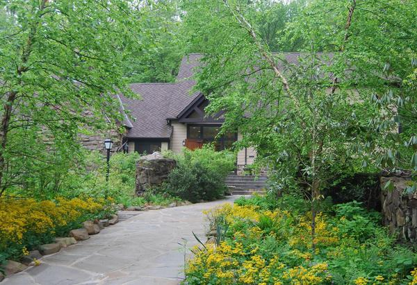 Exterior shot of cottage house in the woods.