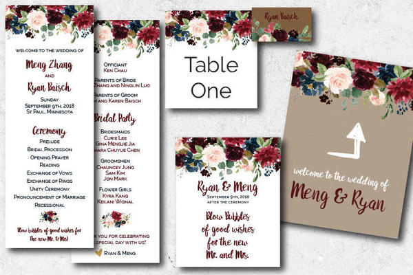 assortment of printed wedding materials