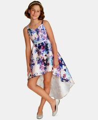 Image of Rare Editions Big Girls Floral-Print Satin Dress