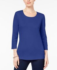 Image of Karen Scott Petite Cotton Scoop-Neck 3/4-Sleeve Top, Created for Macy's