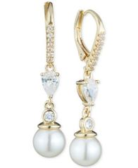 Image of Anne Klein Imitation Pearl and Crystal Drop Earrings