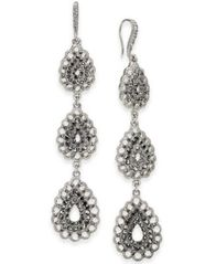 Image of I.N.C. Silver-Tone Triple Drop Linear Earrings, Created for Macy's