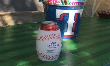 Farmers insurance beverage koozie shaped like a baseball