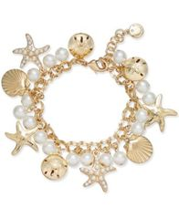 Image of Charter Club Gold-Tone Imitation Pearl Sea Motif Bracelet, Created for Macy's