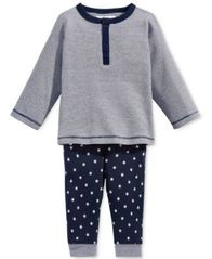 Image of First Impressions 2-Pc. Striped Top & Star-Print Pants Set, Baby Boys, Created for Macy's