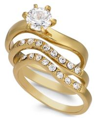 Image of Charter Club Gold-Tone 3-Pc. Set Crystal Wavy Rings, Created for Macy's