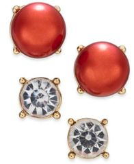Image of Charter Club Gold-Tone Colored Imitation Pearl 2-Pc. Set Stud Earrings, Created for Macy's