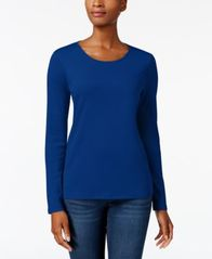 Image of Charter Club Pima Cotton Long-Sleeve Top, Created for Macy's