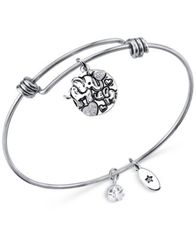 Image of Unwritten Elephant Lucky Disc Bangle Bracelet in Stainless Steel and Silver-Plate