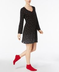 Image of Charter Club Graphic-Print Cotton Sleepshirt with Matching Socks, Created for Macy's