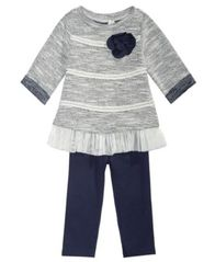 Image of First Impressions Baby Girls 2-Pc. Textured Tunic & Leggings Set, Created for Macy's