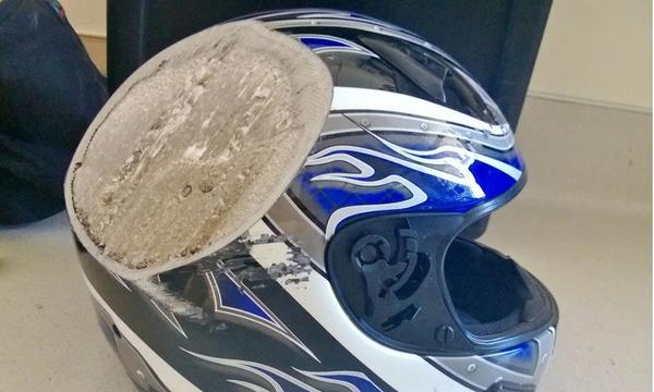 Damaged helmet.