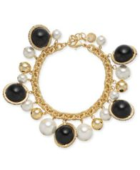 Image of Charter Club Gold-Tone Pavé, Imitation Pearl & Bead Shaky Link Bracelet, Created for Macy's