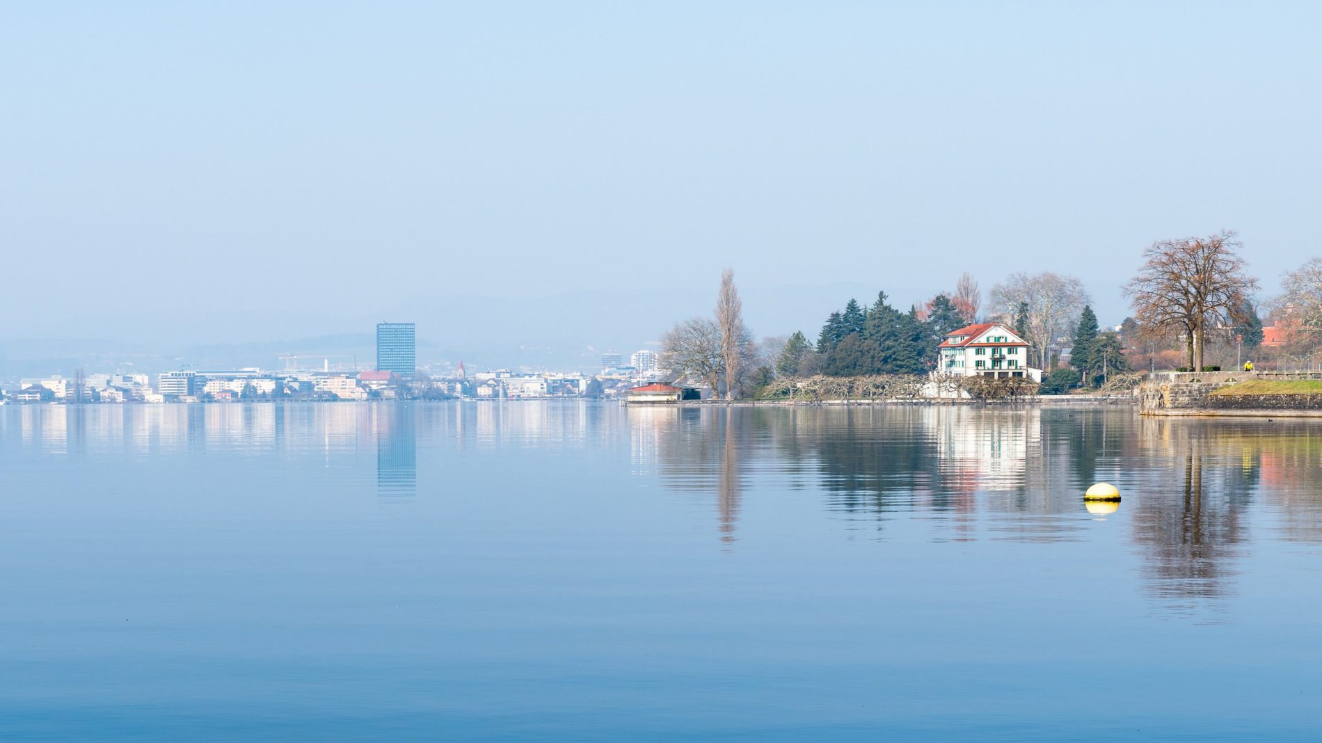 View of Zug's lake and city in the background.