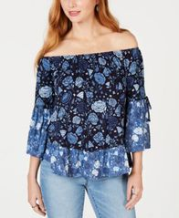 Image of Style & Co Printed Off-The-Shoulder Top, Created for Macy's