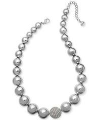 "Image of Alfani Silver-Tone Crystal Accent Bubble Statement Necklace, 17"" + 2"" extender, Created for Macy's"