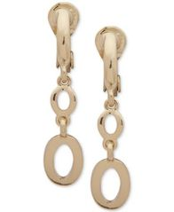 Image of Anne Klein Gold-Tone Link E-Z Comfort Clip-On Double-Drop Earrings