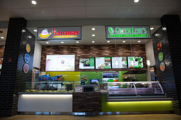 Bananas smoothies & frozen yogurt and Green Leaf's beyond great salads store fronts