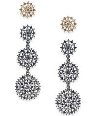 Image of I.N.C. Day & Night Two-Tone 2-Pc. Box Set Coordinated Multi-Stone Openwork Stud and Drop Earrings, C