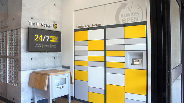 bank of 24/7 lockers at The UPS Store
