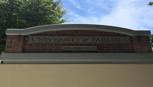 The University of Farmers® sign in California