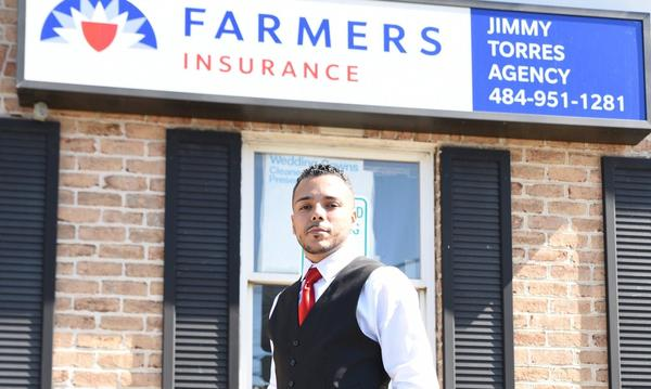 Jimmy standing outside of his Farmers® insurance agency in downtown Bath, PA.