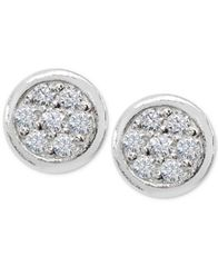 Image of Giani Bernini Cubic Zirconia Pavé Stud Earrings in Sterling Silver, Created for Macy's
