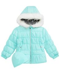 Image of Weathertamer Toddler Girls Quilted Puffer Jacket & Matching Hat